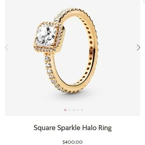 Pandora Square Sparkle Halo Ring 14K Gold